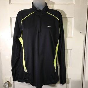 Nike M Blk Dri Fit Quarter Zip Jacket Yellow Trim
